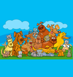 cartoon dog and cats pet characters group vector image
