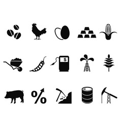 commodities trading market icons set vector image