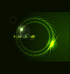 dark green neon effect rings logo background vector image