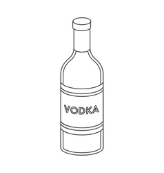 Glass bottle of vodka icon in outline style vector image vector image