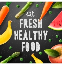 Healthy food concept with sample text vector image vector image