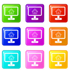 Layout of house icons 9 set vector