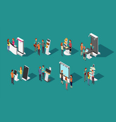 people standing at expo promotional stands vector image vector image