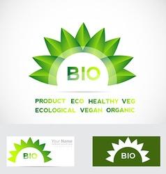 Bio organic flower leafs logo set vector image vector image