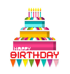 birthday cake with candles and colorful flags vector image