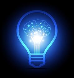digital brain inside electric bulb vector image vector image