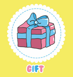 hand draw gift icon pink present box with vector image vector image