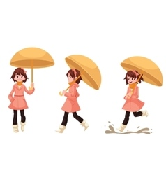 Little girl in a raincoat with umbrella enjoying vector image vector image