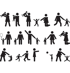Pictogram people with kids vector