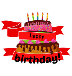 Sweet birthday cake wrapped in red ribbons vector