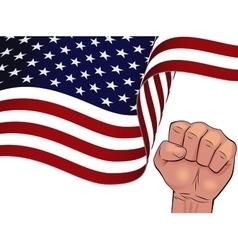Waving USA flag isolated on white background vector image