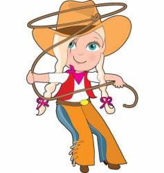 cowgirl kid vector image vector image
