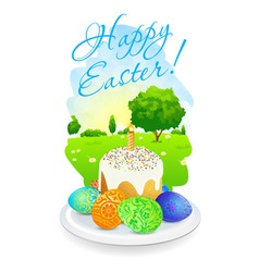 Easter Card with Landscape Cake and Decorated Egg vector image vector image