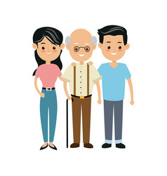 family people mother and father and grandfather vector image