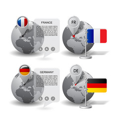 globes with map marker and state flags of germany vector image vector image