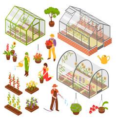 Isometric 3d greenhouse icon set vector