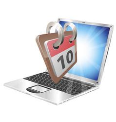 laptop desk calendar concept vector image
