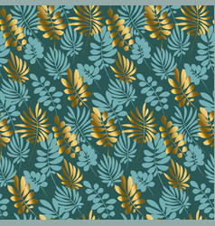luxury tropical leaves seamless pattern in emerald vector image vector image