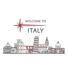 welcome to italy poster in linear style vector image vector image