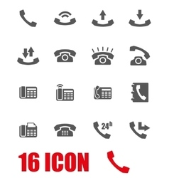 grey telephone icon set vector image