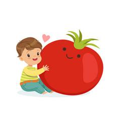 happy boy having fun with fresh smiling tomato vector image vector image