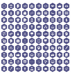 100 business strategy icons hexagon purple vector