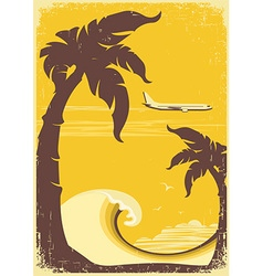 airplane and tropical paradise old retro poster vector image