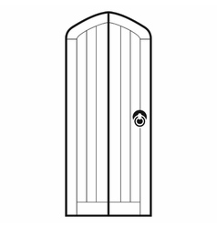Arched wooden door icon simple style vector image