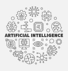 artificial intelligence round ai vector image