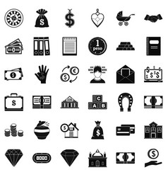 Bank deposit icons set simple style vector