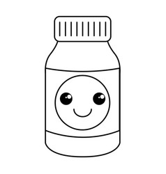 bottle drugs kawaii character vector image