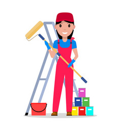 Cartoon woman painter with tools painting vector