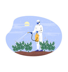 Character in special costume spraying pesticides vector