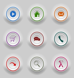 Colored set round buttons for web template vector
