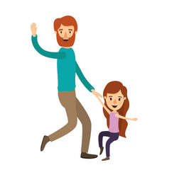 Colorful image caricature bearded father with girl vector