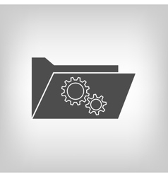 Computer folder with gear wheels vector image