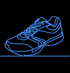 Continuous line sneaker neon glow concept vector
