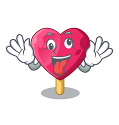 crazy the shaped heart ice cream mascot vector image
