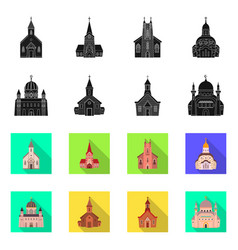 Cult and temple icon set vector