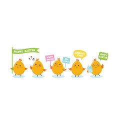 cute little chicks bunner with greeting speech vector image