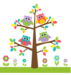 Cute owls on colorful tree and flowers vector
