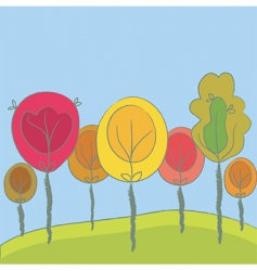 cute seasonal background with trees vector image