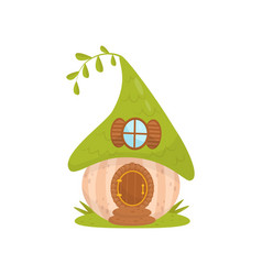 Cute small house with green roof fairytale vector