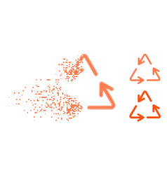 Decomposed dotted halftone recycle arrows icon vector