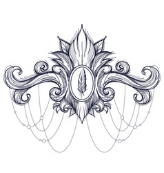 Decorative element in the style of boho contour vector