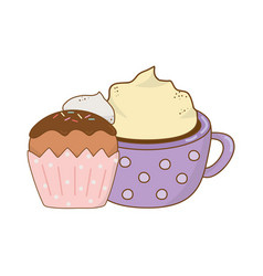 delicious chocolate mug with cupcake vector image
