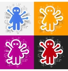 Drawing business formulas voodoo Doll vector