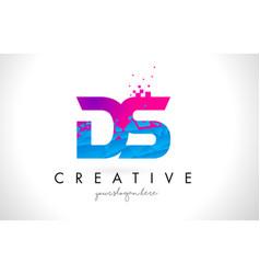 Ds d s letter logo with shattered broken blue vector