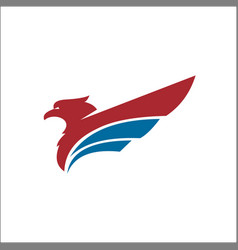eagle animals logo red blue color vector image