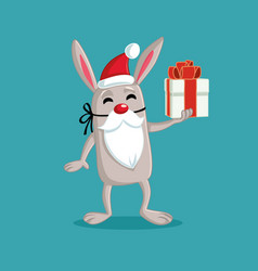 easter bunny dressed like santa claus holding gift vector image